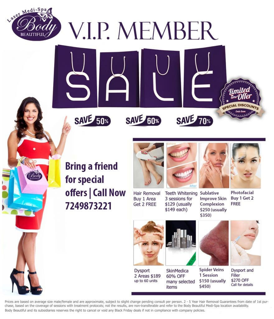 VIP Member deals, Body beautiful laser medi spa, cranberry twp pa
